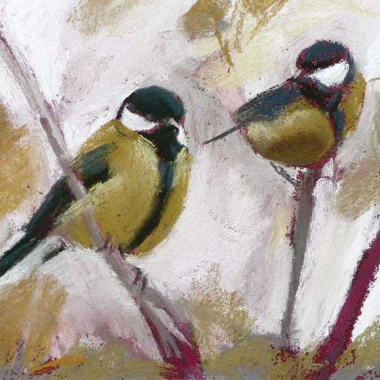 Fine Art Greeting Cards, Pastel, Birds, Great Tits