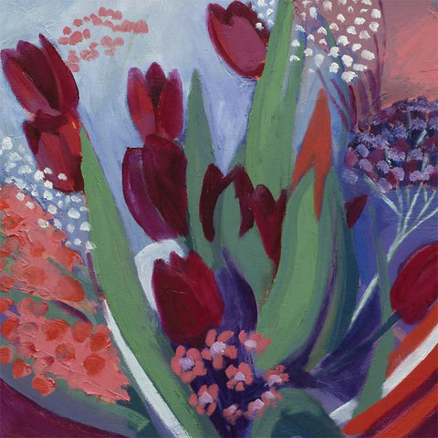 Fine Art Greeting Card, Pastel, Flowers, Tulips