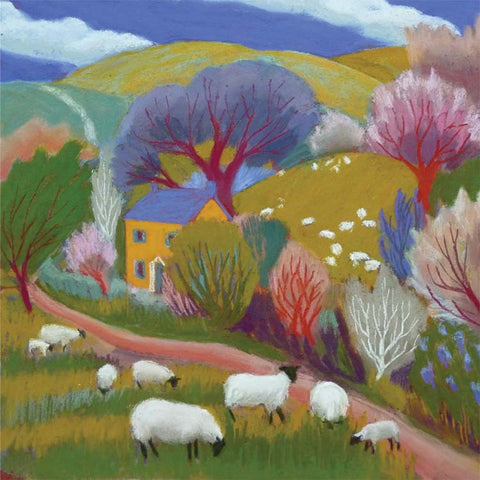 Fine Art Greeting Card, Pastel, Landscape, House and Sheep