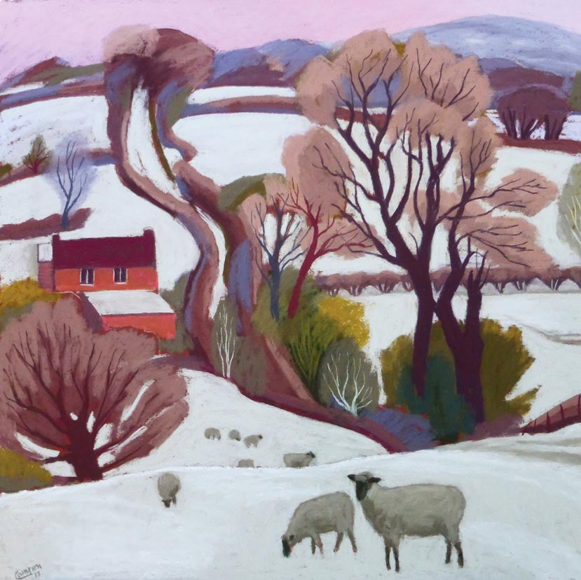 Fine Art Greeting Card Pack, Pastel, Winter Landscape with Sheep