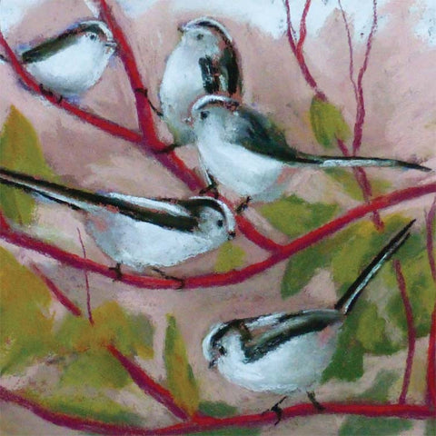 Fine Art Greeting Cards, Pastel, Birds, Long Tailed Tits