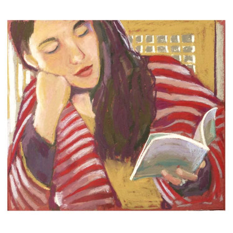 Fine Art Greeting Card, Pastel, Woman Reading