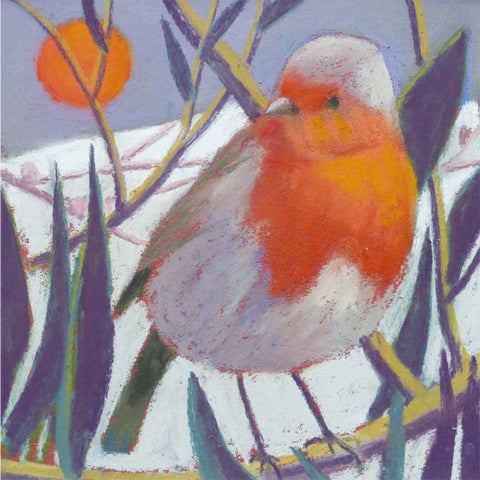 Fine Art Greeting Card, Pastel, Birds, Robin and Moon