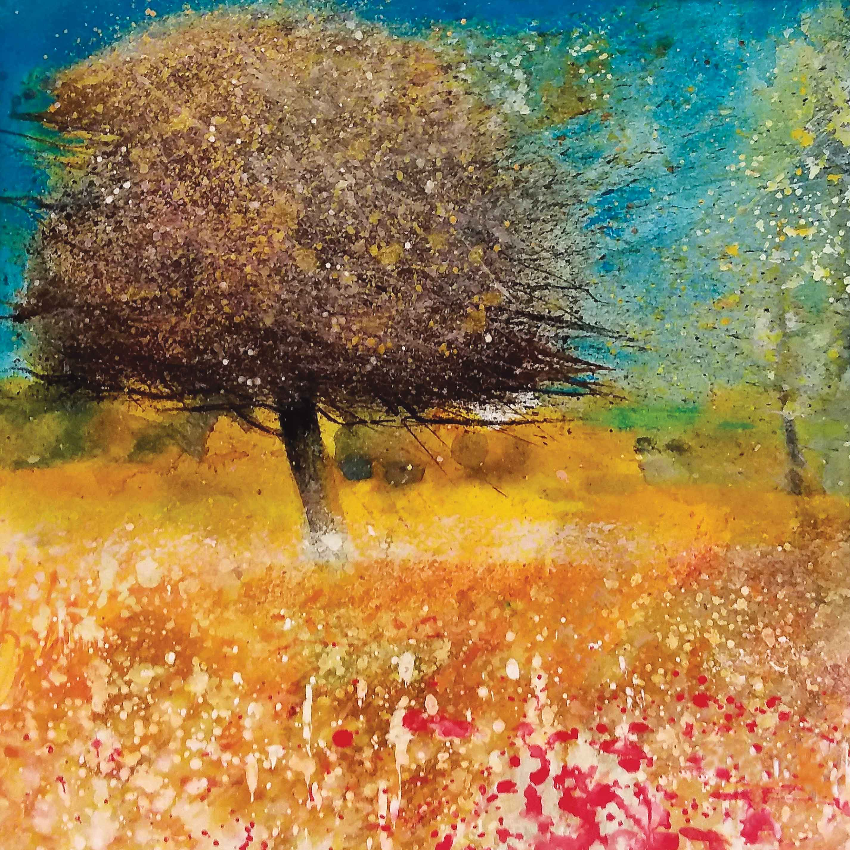 Art Greeting Card by Sue Howells, watercolour, tree in meadow