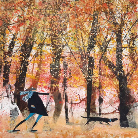 Art Greeting Card by Sue Howells, Watercolour, man walking dog in park