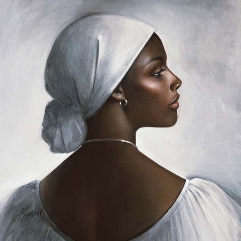 Fine Art Greeting Card, Acrylic on Canvas, West Indian lady in a white head scarf