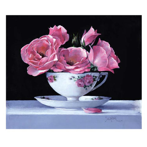 Fine Art Greeting Card, Acrylic on Canvas, Pink roses in a teacup