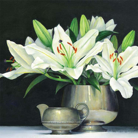 Fine Art Greeting Card, Acrylic on Canvas, White lilies in pewter