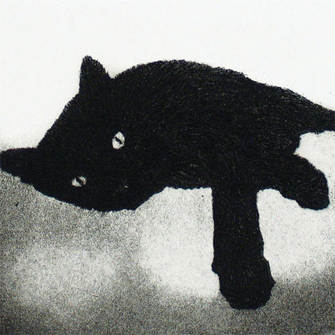 Art Greeting Card, Aquatint, Black cat