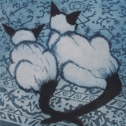 Home Comforts by Susie Perring, Art Greeting Card, Aquatint, Two siamese cats on a rug