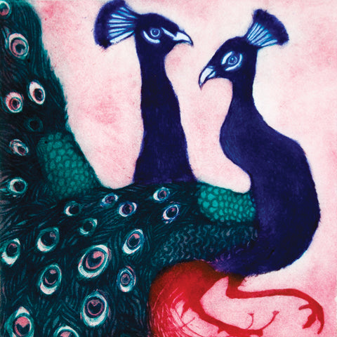 Stepping Out by Susie Perring, Art Greeting Card, Aquatint, Two peacocks