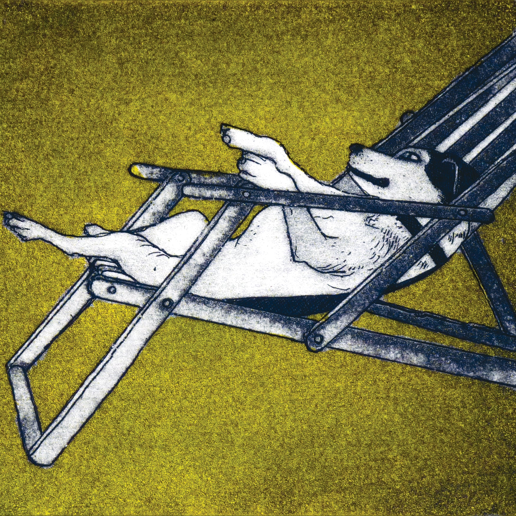 Summer Boarding by Susie Perring, Art Greeting Card, Aquatint, Dog in sun lounger