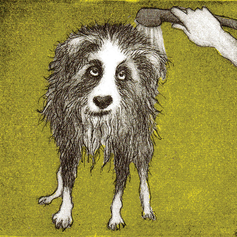 Bath Time by Susie Perring, Art Greeting Card, Aquatint, Dog being showered