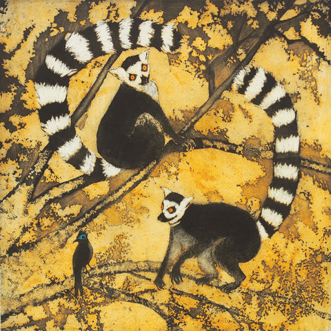 Friends in High Places by Susie Perring, Art Greeting Card, Aquatint, Two lemurs in a tree
