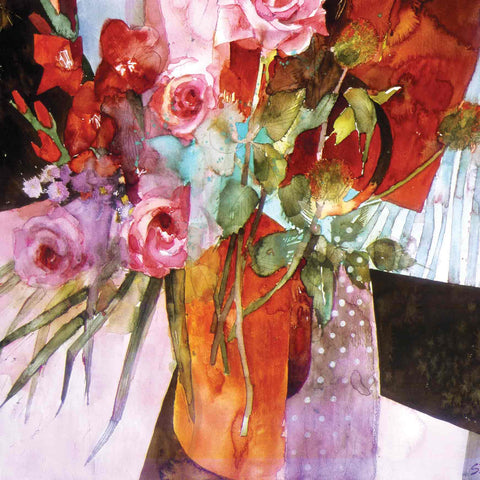 Art Greeting Card by Shirley Trevena, Red Flowers on a Black Table, Watercolour, Flowers in vase
