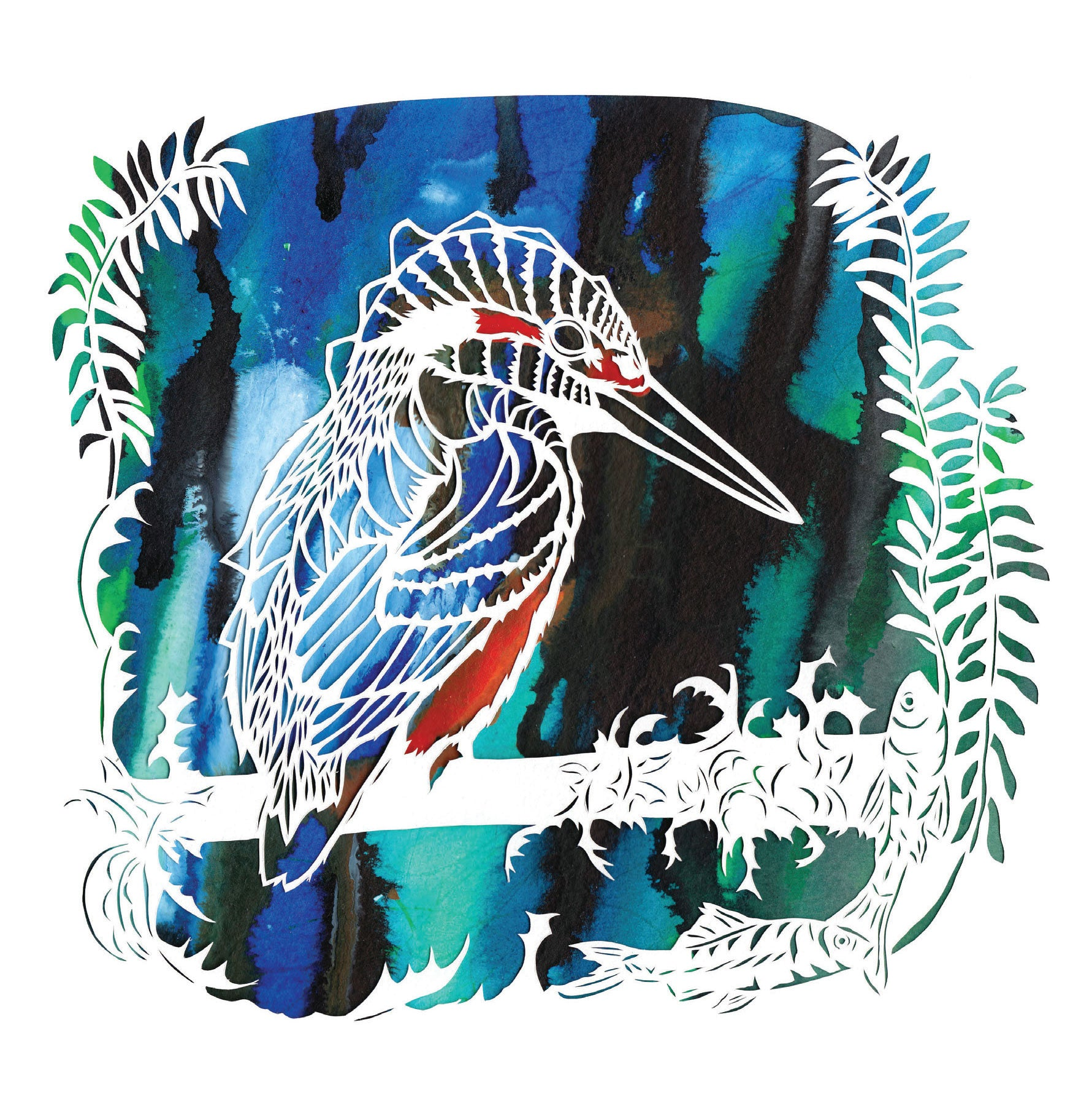 Art Greeting Card, Papercutting and Ink, Kingfisher