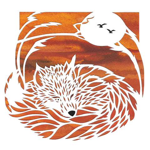 Fox Sunset by Suzanne Breakwell, Art Greeting Card, Papercutting and Ink, Fox sleeping with one eye open