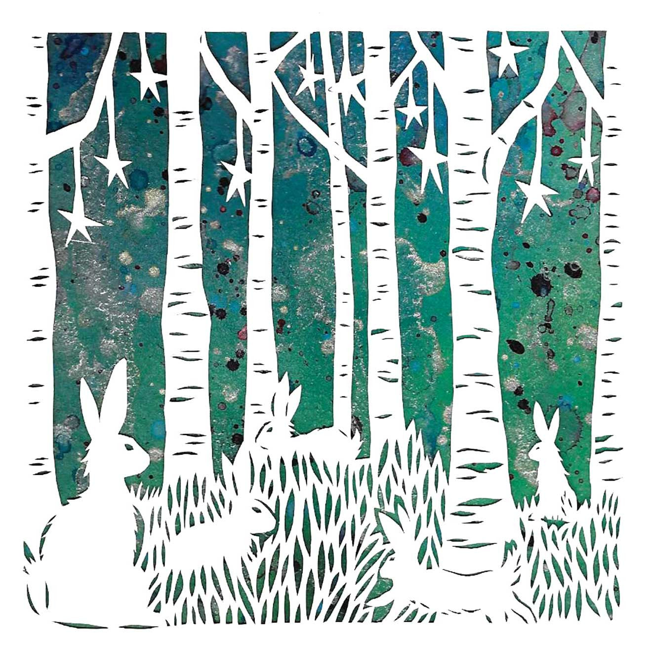 Night Foraging by Suzanne Breakwell, Art Greeting Card, Papercutting and Ink, Hares foraging among the trees at night