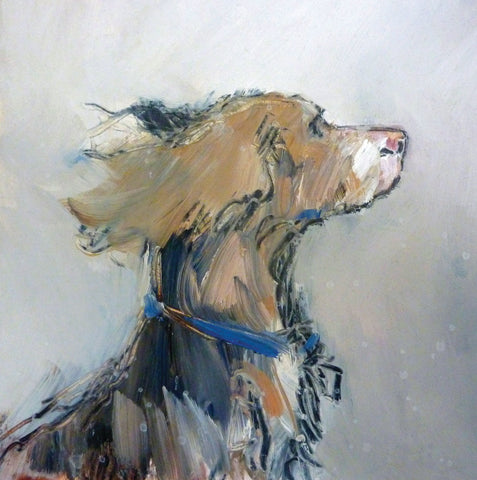 Ears in the Wind by Tom Homewood, Fine Art Greeting Card, Oil on Panel, Spaniel portrait