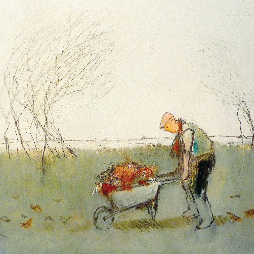 The Gardener by Tom Homewood, Fine Art Greeting Card, Oil on Panel, Man pushing wheel barrow with autumn leaves