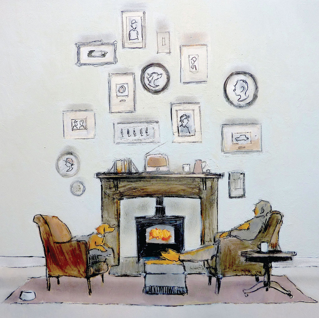 A Cosy Evening by Tom Homewood, Fine Art Greeting Card, Oil on Panel, Man and dog in chairs by the fireplace