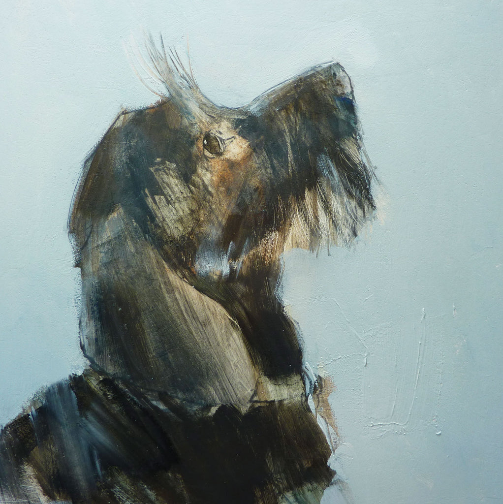 Fine Art Greeting Card, Oil on Panel, Scruffy dog looking up