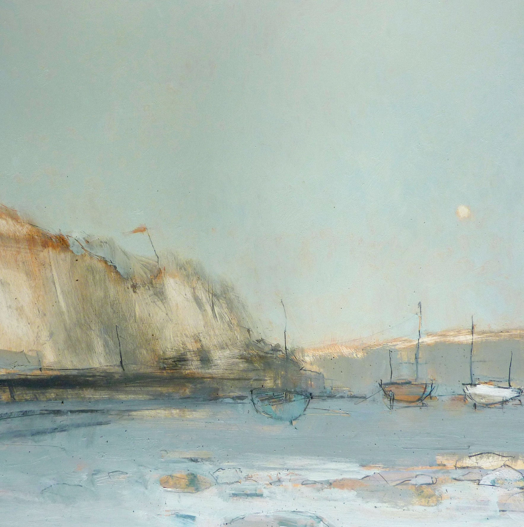 Boats by Moonlight by Tom Homewood, Fine Art Greeting Card, Oil on Panel, Boats by chalk cliffs