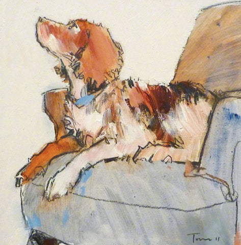 Faithful Friend by Tom Homewood, Fine Art Greeting Card, Oil on Panel, Spaniel on chair looking up
