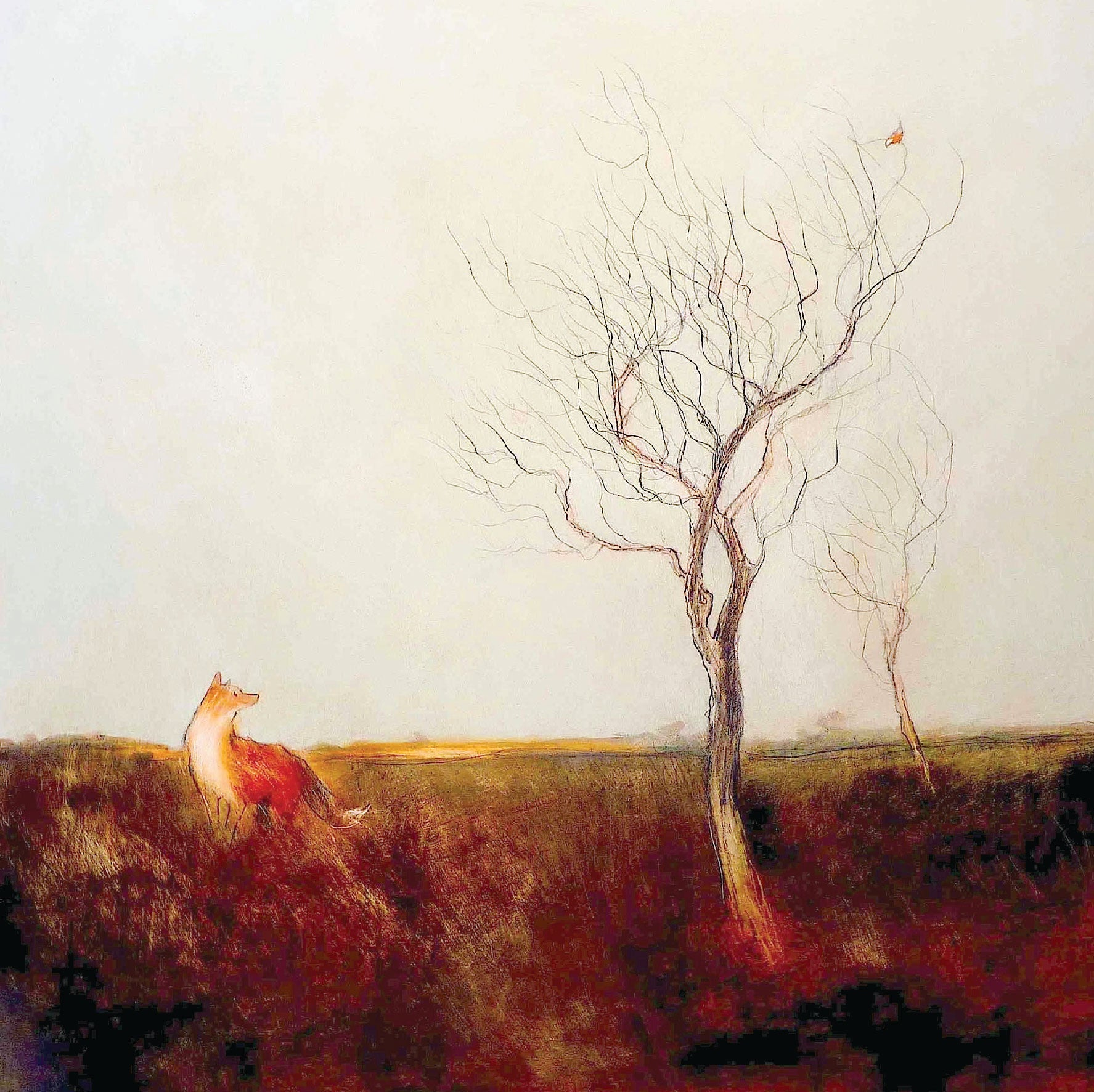 The Fox and the Redstart by Tom Homewood, Fine Art Greeting Card, Oil on Panel, A fox watching a bird in a tree