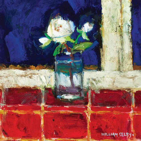 Art Greeting Card by William Selby, Kitchen Rose, Mixed Media, Rose in glass jar on window sill
