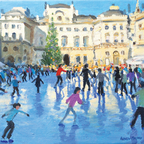 Christmas, Somerset House by Andrew Macara, Fine Art Greeting Card, Christmas Pack, Ice skaters by Somerset House