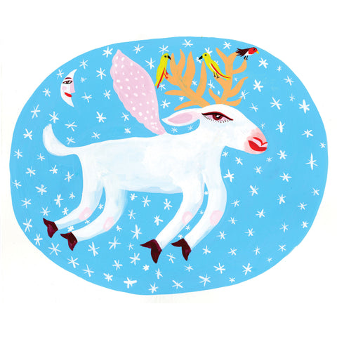 Reindeer by Christopher Corr, Art Greeting Card, Christmas Pack, Flying white reindeer with stars and moon