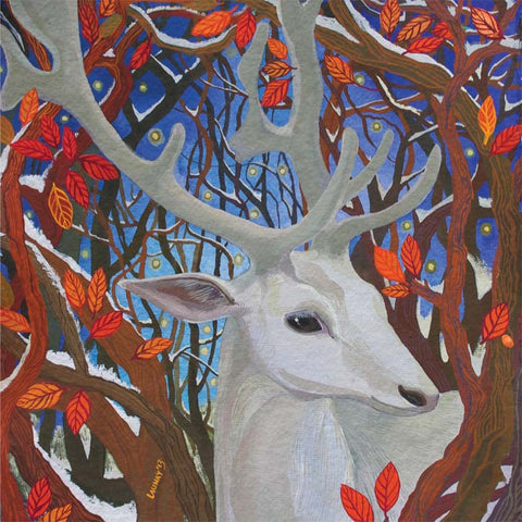 Fine Art Greeting Card, Gouache on Paper, A white stag in the woods
