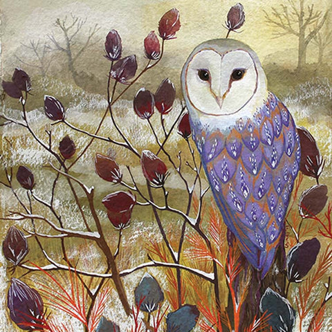 Fine Art Christmas Card Pack, Gouache on Paper, Winter landscape with barn owl on a twig
