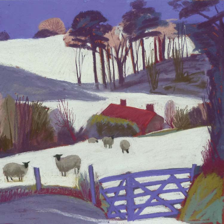 Fine Art Greeting Card, Pastel, Winter Landscape with Sheep
