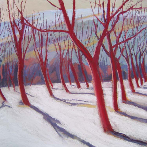 Fine Art Greeting Card, Pastel, Winter Trees