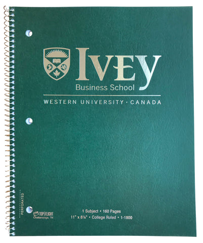 Ivey Spiral Bound Notebook Green 160 pages