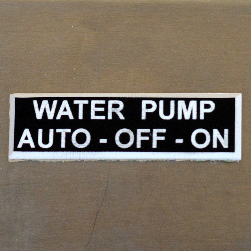 Panel Tags - Water Pump / Auto - Off - On