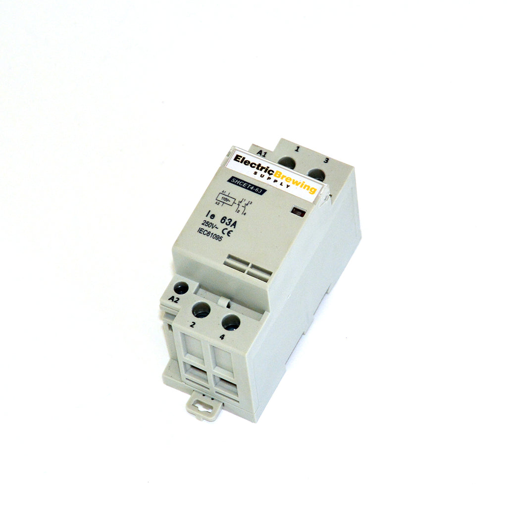 2 Pole 63a, 110v Coil, DIN Rail Contactor
