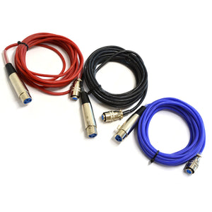RTD sensor Cable, XLR to QD, Silicon Cable 12' Blue