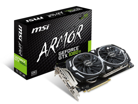 MSI GEFORCE GTX1080Ti 11GB DDR5 ARMOR OC Graphics Card for Gaming PC