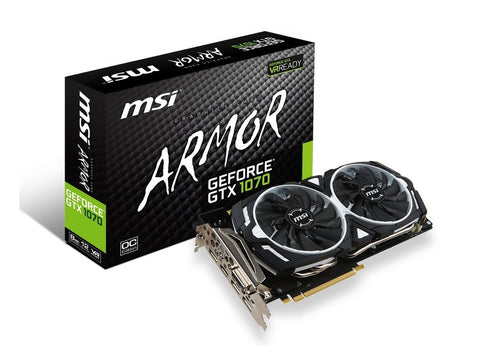 MSI GeForce GTX 1070 ARMOR 8GB OC DDR5 Graphics Card for Gaming PC