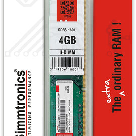 SIMMTRONICS 4GB DDR3 1600 Mhz RAM for Desktop Computer/PC