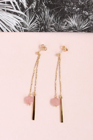Amelia Earrings - Gold & Pink