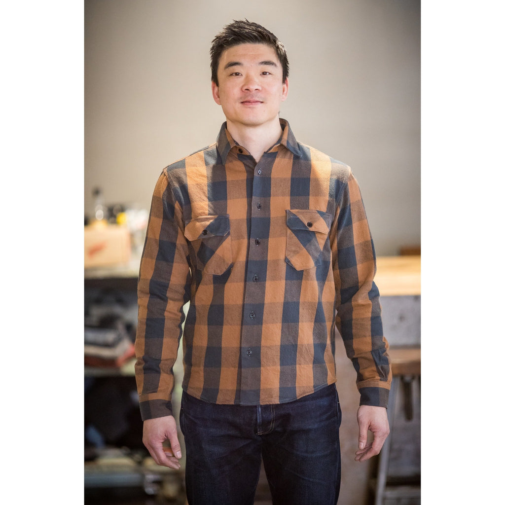 Indigofera Norris Shirt - Brown and Grey - Franklin & Poe