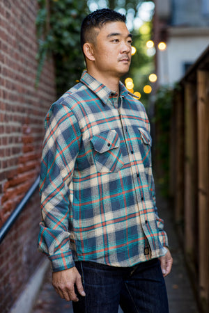 Indigofera Bryson Flannel Shirt - Grey/Beige/Petrol/Red