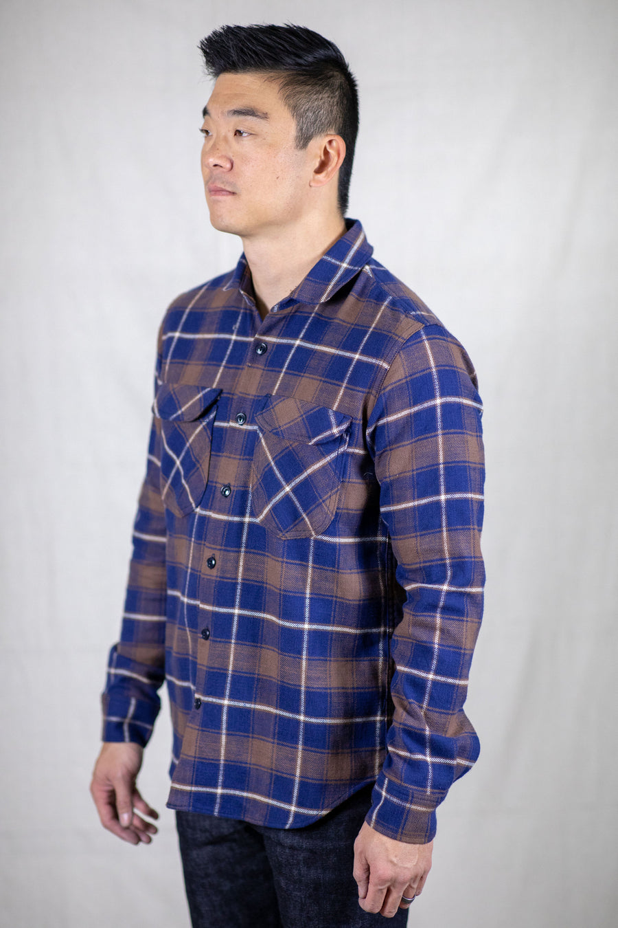 Rogue Territory Rancher Shirt - Neppy Brushed Brown/Navy Plaid - Franklin & Poe