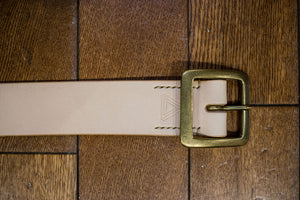 Hollows Leather Rail Belt - Natural Veg Tan Brass Buckle