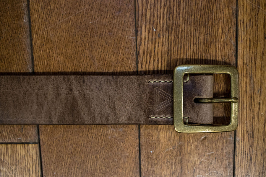 Hollows Leather Rail Belt - Natural Chromexcel Brass Buckle