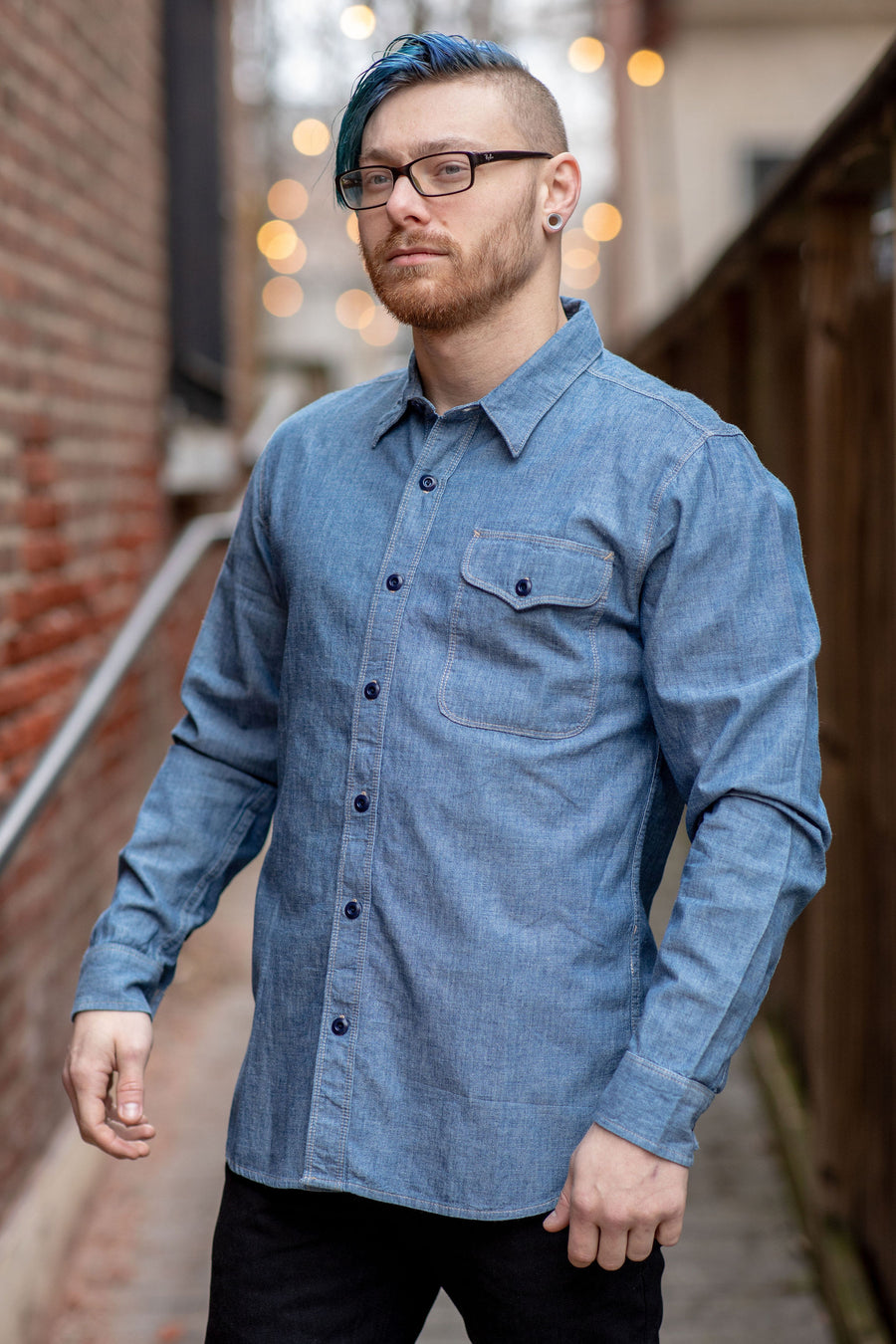 Freenote Cloth Utility Single Pocket - Blue Chambray